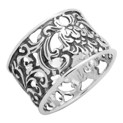 RPS1119 - Sterling Silver Filigree Flower Wide Band Ring