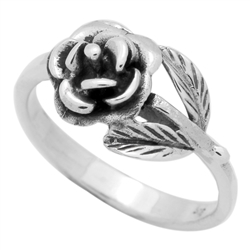 RPS1123 - Sterling Silver Rose Flower Wrap Ring