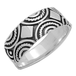 RPS1124 - Sterling Silver Decorative Band Ring