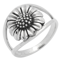RPS1125 - Sterling Silver Sun Flower Double Shank Ring