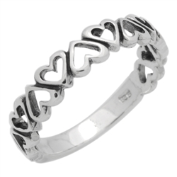 RPS1129 - Sterling Silver Semi Eternity Cut-out Hearts Band Ring