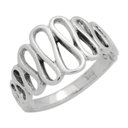 RPS1130 - Sterling Silver S Wavy Loop Plain Ring