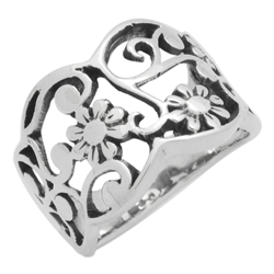 RPS1132 - Sterling Silver Wide Filigree Flower Ring