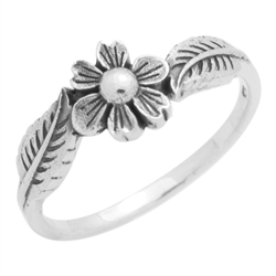 RPS1133 - Sterling Silver Flower Leaves Shank Band Ring