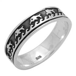 RPS1134 - Sterling Silver Dolphin Dive All Around Band Ring