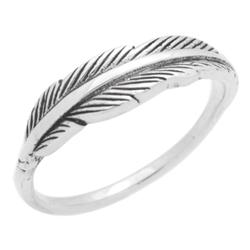 RPS1137 - Sterling Silver Wrap Feather Band Ring