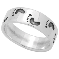 RPS1138 - Sterling Silver Footprints Band Ring