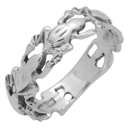 RPS1142 - Sterling Silver Frogs around Band Ring