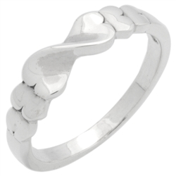 RPS1143 - Sterling Silver Infinity Twisted Hearts Band Ring