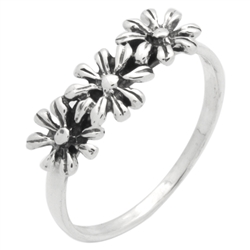 RPS1144 - Sterling Silver Three Flowers Ring