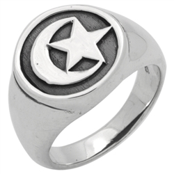 RPS1145 - Sterling Silver Crescent Moon Star Ring