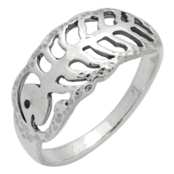 RPS1149 - Sterling Silver Fish bone Band Ring