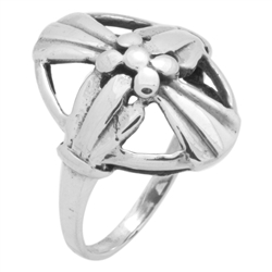 RPS1150 - Sterling Silver Oval Cross Plain Ring