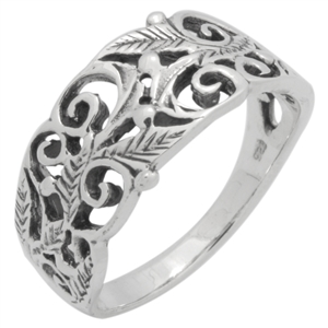 RPS1153 - Sterling Silver Filigree Vines Leaves Ring