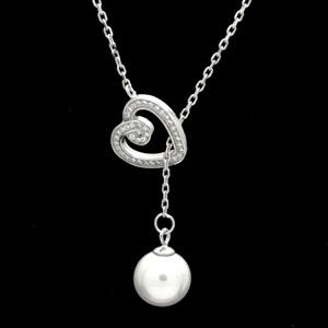 SCN1001-SL Sterling Silver CZ Heart Necklace with Pearl Drop