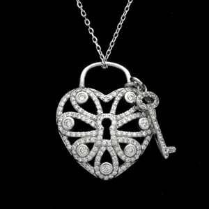 SCN1002-SL Sterling Silver CZ Heart Necklace with Key