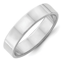 Silver Plain Wedding Band - Flat Band - 5mm