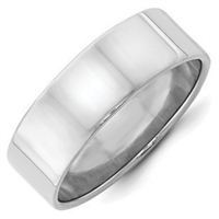Sterling Silver Plain Flat Wedding Band 7mm