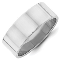 Sterling Silver Plain Flat Wedding Band 8mm