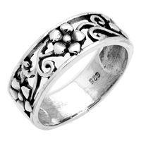 RPS1050 Silver Plain Flower Vines Band Ring