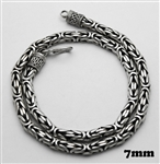 Sterling Silver 7 mm Wide Heavy Bali Chain Necklace Oxidized 18'' length