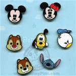 Disney Trading Pin Mini-Pin Collection - Cute Characters - Faces of Mickey Mouse and Friends (Version #2)