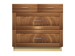 4 drawer base cabinet with split top drawer