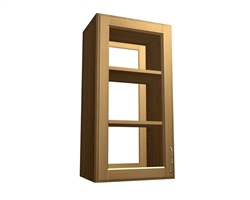 2 door glass cabinet with access from front and back