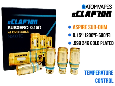 ATOM gClapton 24K Gold Aspire Replacment Coil Ni200 - 0.15 oHm (4 Pack)