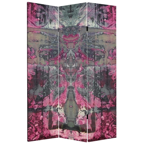 6ft Tall Double Sided Pink Cosmic Debris Canvas Folding Screen