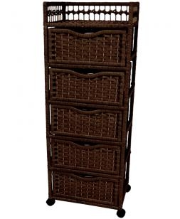 Natural fiber chest of drawers on wheels five drawer for Cheap nightstand alternatives