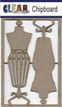 Dress Form Chipboard Embellishments