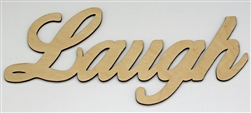 LAUGH XL Script Wood Word