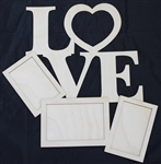 "Love 1/8"" Birch Wood Frame"