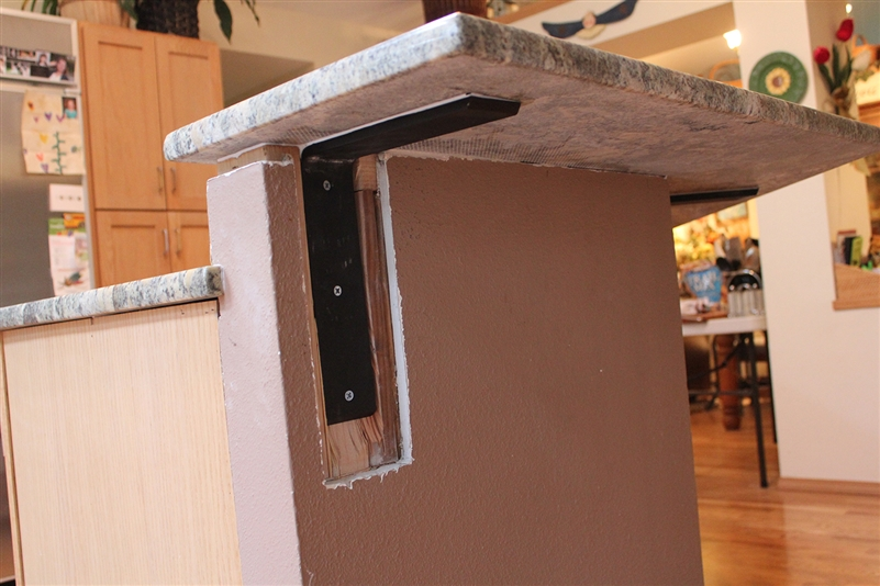 Countertop support bracket for granite quartz hidden for How to support granite countertop overhang