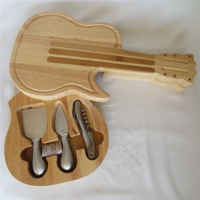 Guitar cutting board with knives set
