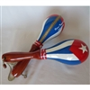 Cuban Flag Wood Handle Maracas