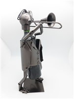 Trombonist - Metal Wine Holder - 13 inches