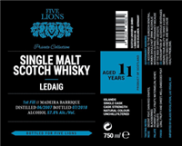 Five Lions 11 Year Old Ledaig Madeira Barrique Private Collection Single Malt Scotch Whisky (750ml)