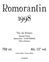 Brendan Tracey Romorantin 1998 (Loire Valley, France) (750ml)