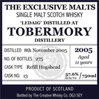 Tobermory Ledaig 11 Year Old The Exclusive Malts 2005 (750ml)
