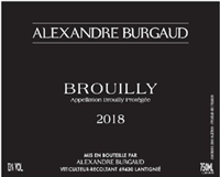 Alexandre Burgaud Brouilly 2018 (Burgundy, France) (750ml)
