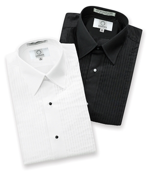 "Laydown Collar 1/4"" Pleated Tuxedo Shirt"