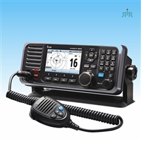 Icom IC-M605 VHF fixed mount with AIS, color display, and rear mic connector