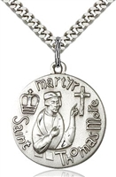 "St. Thomas More Sterling Silver on 24"" Chain"