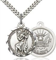 St Christopher Navy Sterling Silver 24""