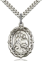 "St Raphael the Archangel Sterling Silver on 24"" Chain"