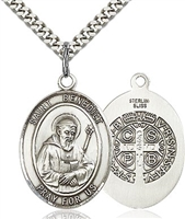 "St. Benedict Sterling Silver on 24"" Chain"
