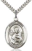 "St. John the Apostle Sterling Silver on 24"" Chain"