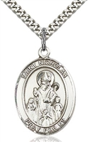 "St Nicholas Sterling Silver on 24"" Chain"
